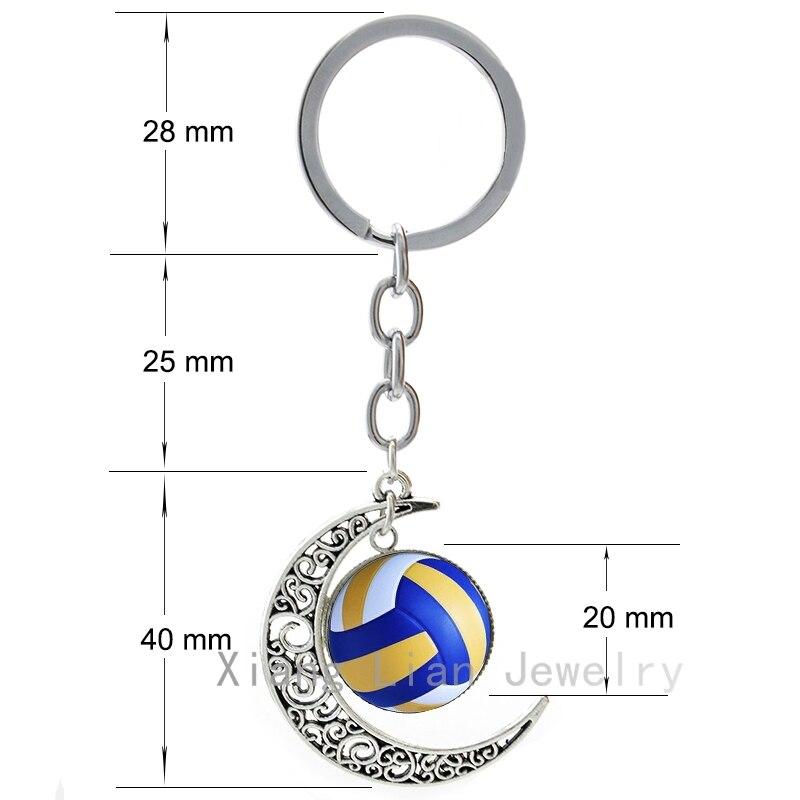 TAFREE Summer Beach Volleyball gambar aloi kaca bulan loket keychain - Perhiasan fesyen - Foto 2