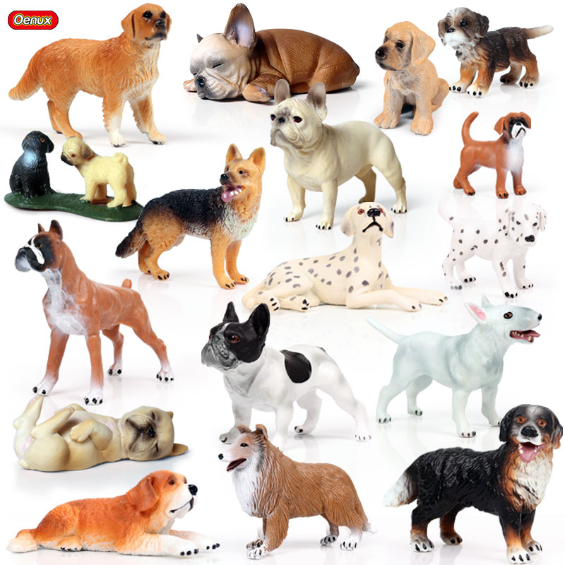 Oenux Lovely Pet Dog Animals Model Action Figure Boxer Bulldog Dalmatian Figurines Cute Miniature Collection Toys For Kids Gift
