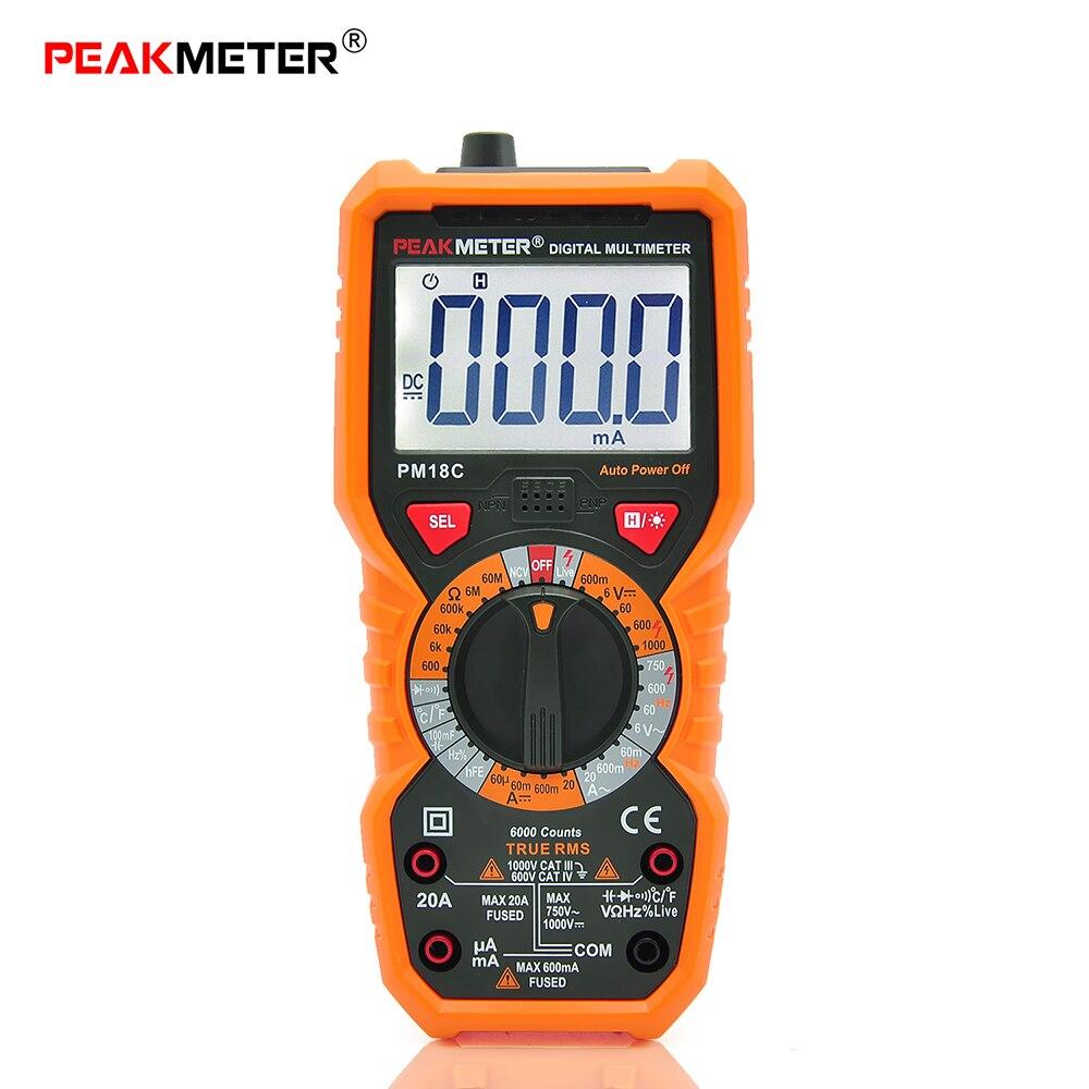 PEAKMETER Digital Multimeter Voltage Current Resistance Capacitance Frequency Temperature hFE NCV Line Tester diagnostic-tool
