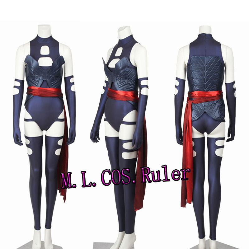 TOP SALEX-Men Apocalypse Psylocke Elizabeth Braddock Cosplay Costume Sexy Dress ustom Made