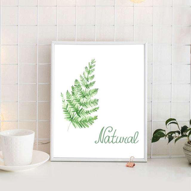 Fern leaf print watercolor painting wall art decor , Natural Green ...