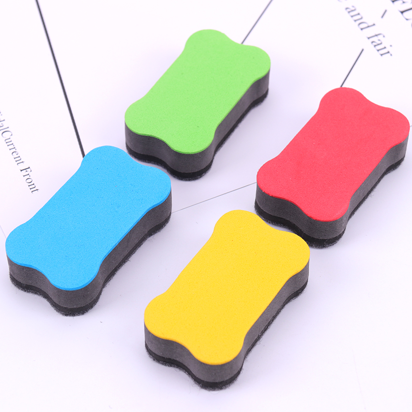 1PC Cartoon Bone Whiteboard Eraser 4 Colors Magnetic Board Erasers Wipe Dry School Blackboard Marker Cleaner Stationery