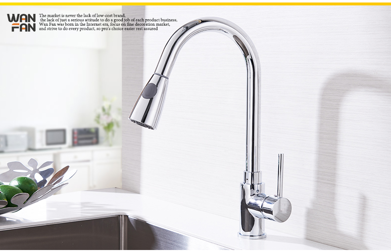 Kitchen Faucets Silver Single Handle Pull Out Kitchen Tap Single Hole Handle Swivel 360 Degree Water Mixer Tap Mixer Tap 408906 10