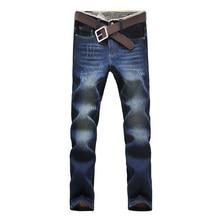 2016 новое прибытие зимние классические джинсы мужские прямые хлопок эластичность мужские теплые джинсы высокое качество Удобные прямые брюки