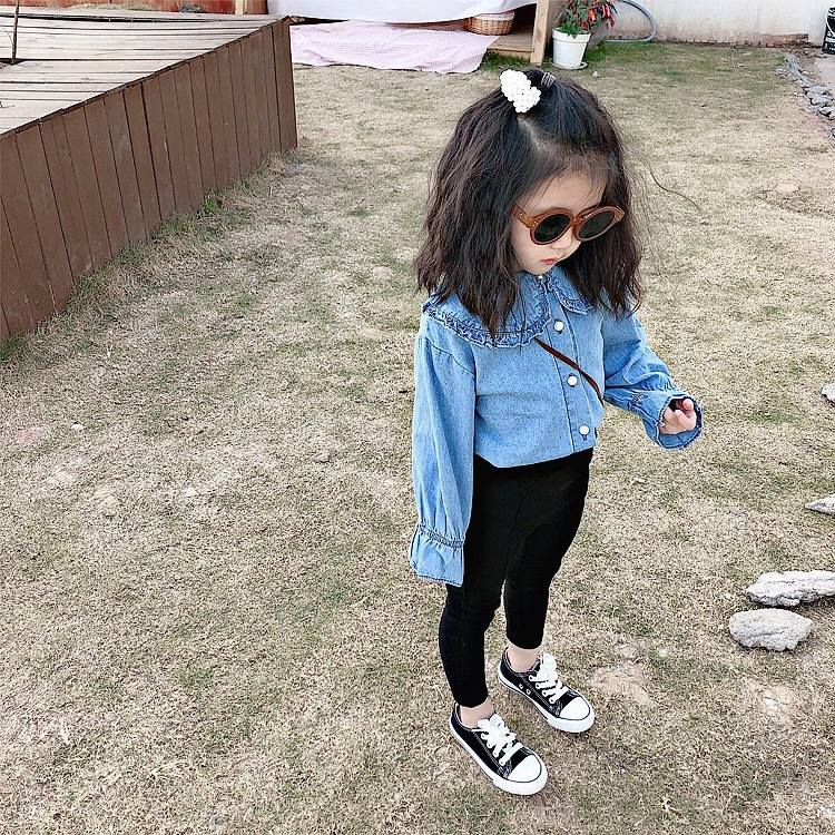 Girl Baby Spring and Korean Version Foreign Pearl Button Shirt Children 39 s Doll Collar Denim Shirt in Blouses amp Shirts from Mother amp Kids