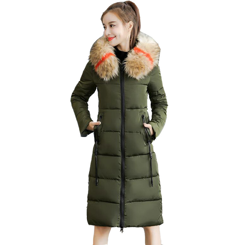 2019Hooded Large Colorful Fur Collar Winter Women Long Jackets Cotton-Padded Female Down Jacket Warm   Parkas   Plus Size 7XL Q960