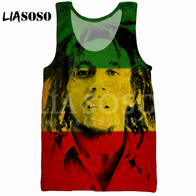LIASOSO Summer 3D Print Men's   Tank     Top   Vest Rock Singer Reggae BOB Marley Smoke sleeveless Hip Hop   Tank     Top   High-quality X0992