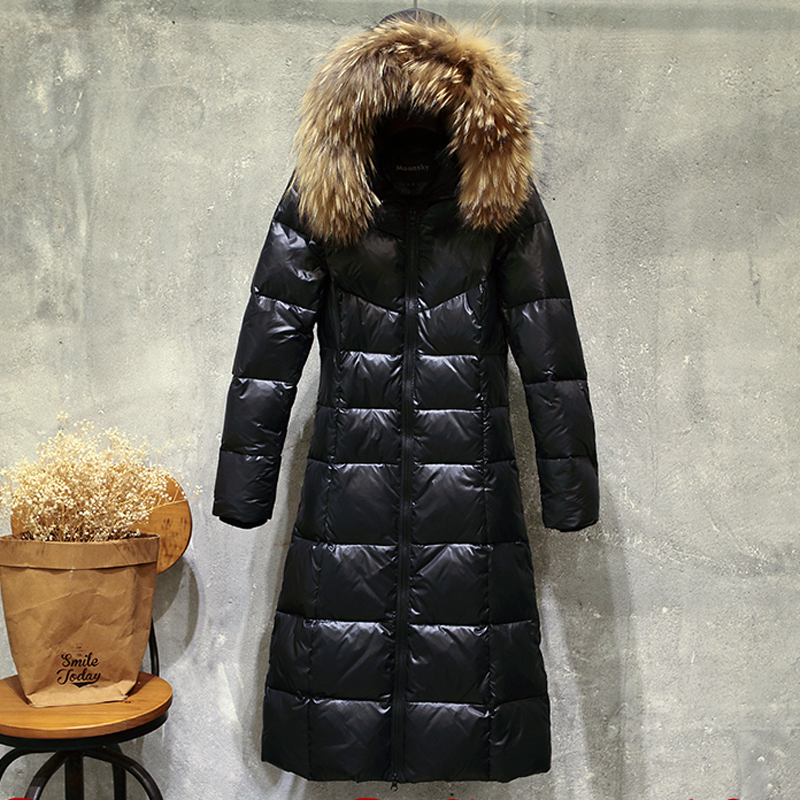 2017 Large Size Winter Women Coat Hooded Fur Collar Parka High Quality Feather Cotton Warm Winter Female Jacket Outerwear YZ347