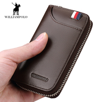 Car Key Holder Wallet Genuine Leather Wallet for Men women Fashion Striped Zipper Brown Key Wallets Housekeeper Keys Organizer