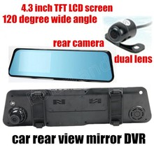 car Rearview mirror DVR 4.3 inch TFT screen waterproof front 120 degree and back 170 degree wide angle dual lens