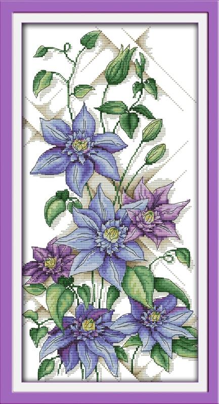 Zdarma Cross Stitch vzory Flowers Home Decor Fialové květy Soupravy pro výšivky DIY Ručně vyrobené Vyšívací Cross Stitch Set