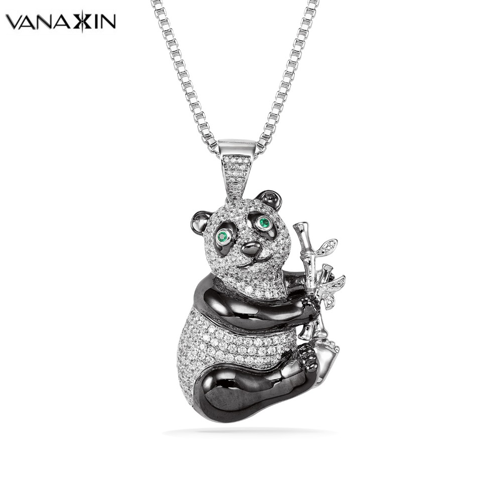 VANAXIN Panda Silver Color CZ Crystal White Black Lucky Cute Chinese National Treasure High Quality Necklaces Punk Jewelry Box