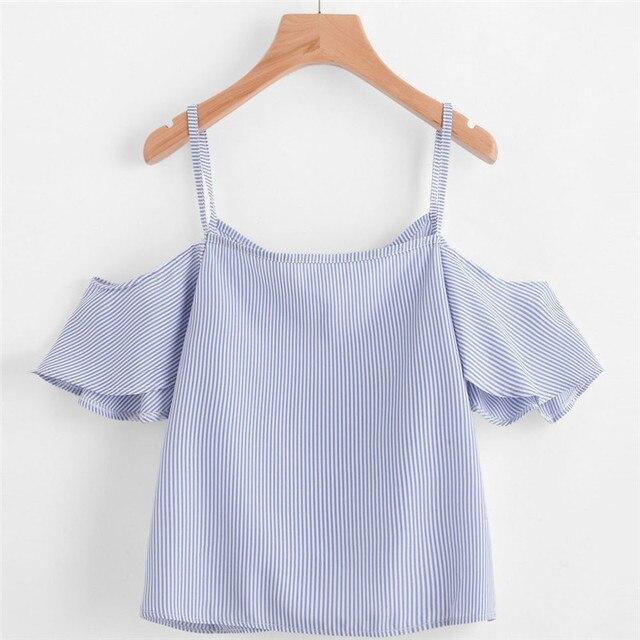 989045a1bdeab Embroidery Female Shirt Casual Blue Striped Shirt Summer Pinstripe Shoulder  Top Tee Shirt 2018 Femme Marque