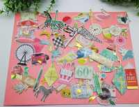 70pcs Carrousel&Ferris Wheel Cardstock Die Cuts Stickers For DIY Scrapbooking Decorative label/Hand Account/Holiday Gift Tags