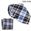 Tailor Smith Pure Silk Luxrury Plaid Tie Pocket Square Set With Gift Box Mens Formal Suit Dress Necktie Check Cravat Hanky