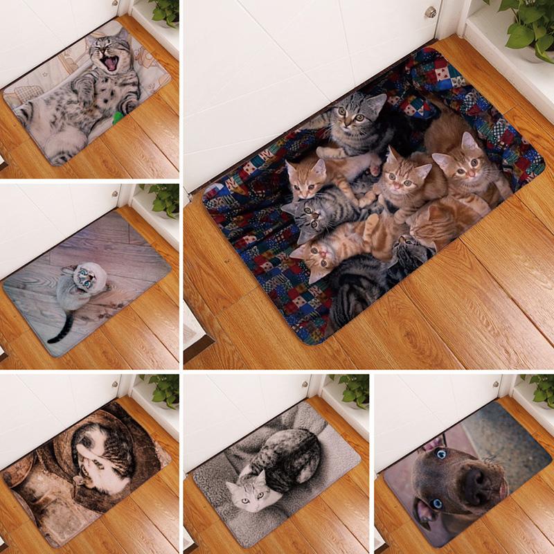 Cute Cat Puppy Print Floor Mats