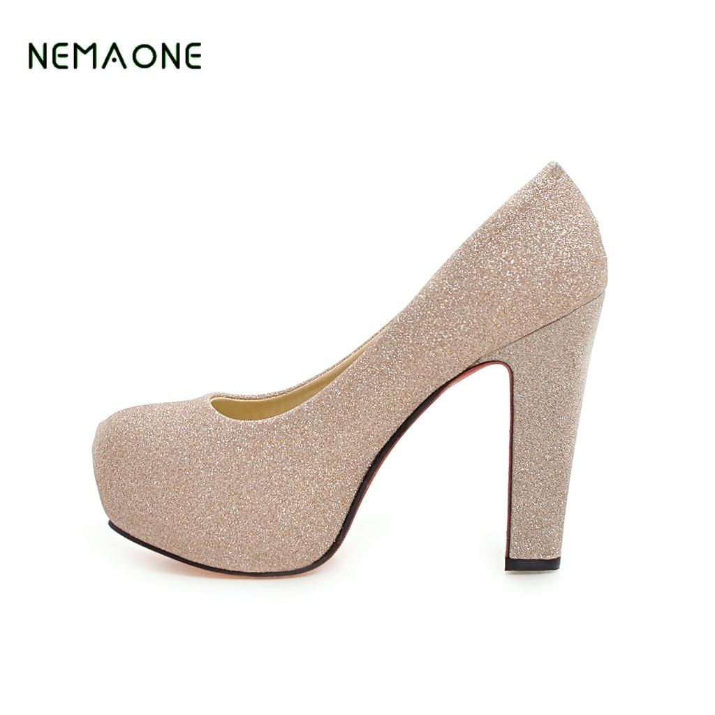 64817dbc2 Nemaone Женские туфли на высоком квадратном каблуке женские из лакированной  кожи брендовые туфли с круглым носком