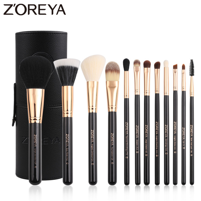 ZOREYA Brand 12Pcs Black Makeup Brush Sets High Quality Synthetic Hair Cosmetic Tools Power Foundation Lip Concealer Brushes