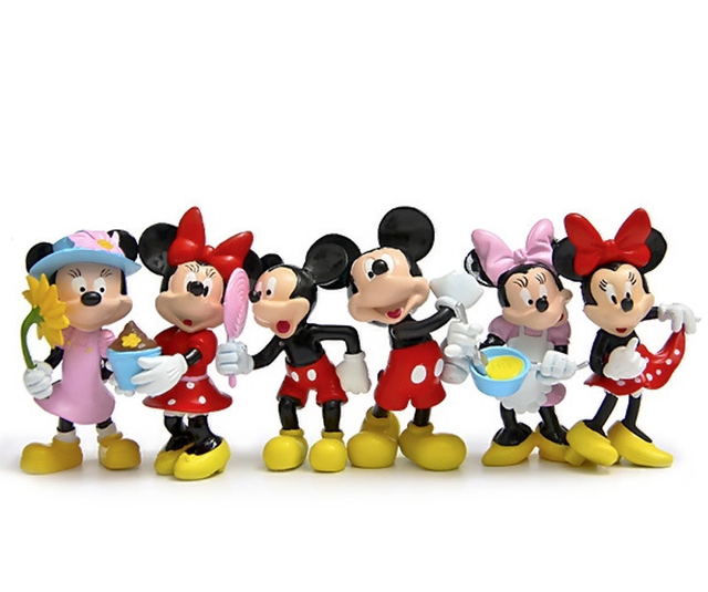 6pcs Mickey Minnie cartoon duck moss landscape doll fairy garden ...