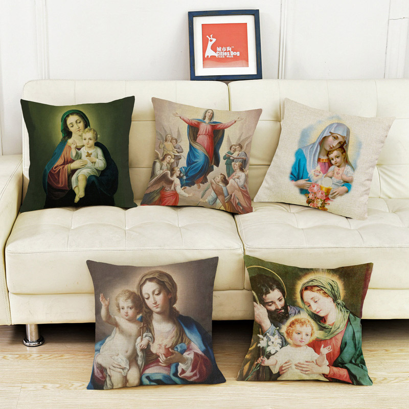 Christianity The Virgin and Child printed linen pillow case Jesus religious beliefs household cushion cover