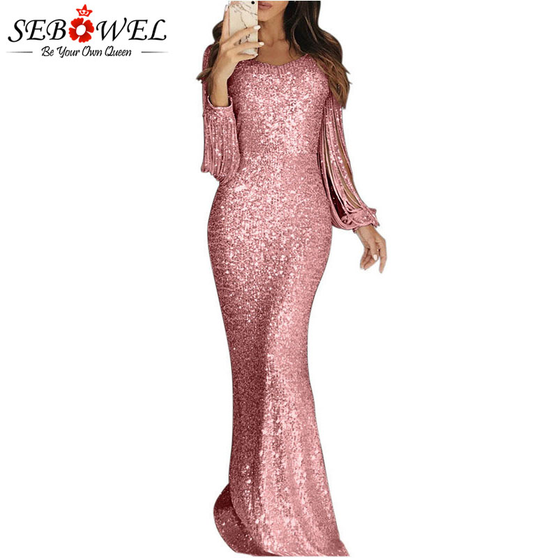 SEBOWEL Sequin Long Fringe Sleeve Party Maxi Dress Trumpet Woman Bodycon Mermaid Floor Length Glitter Female