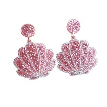 Exaggerated glitter Resin Acrylic Shell Earrings Women Large Summer Beach Party Jewelry Gift