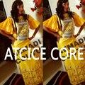 АФРИКАНСКИЕ ПЛАТЬЯ ДЛЯ ЖЕНЩИН африканских базен riche платье вышивка длинное платье с шарфом