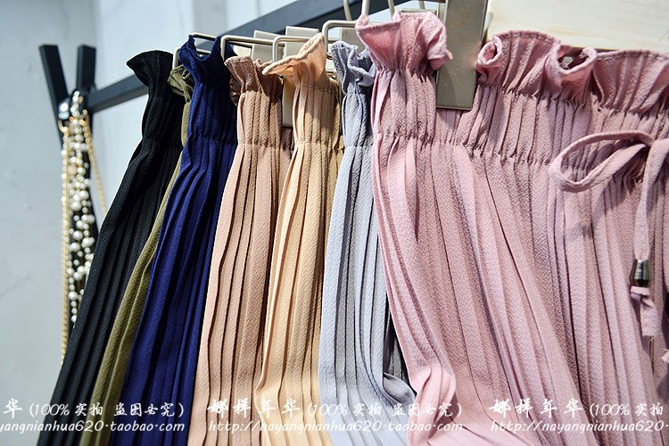 2019 Summer High Waist Lace Up Waist Pleated Pants Women Loose Wide Leg Chiffon Pants Lady Lace Up Waist Ankle Length Pants 53