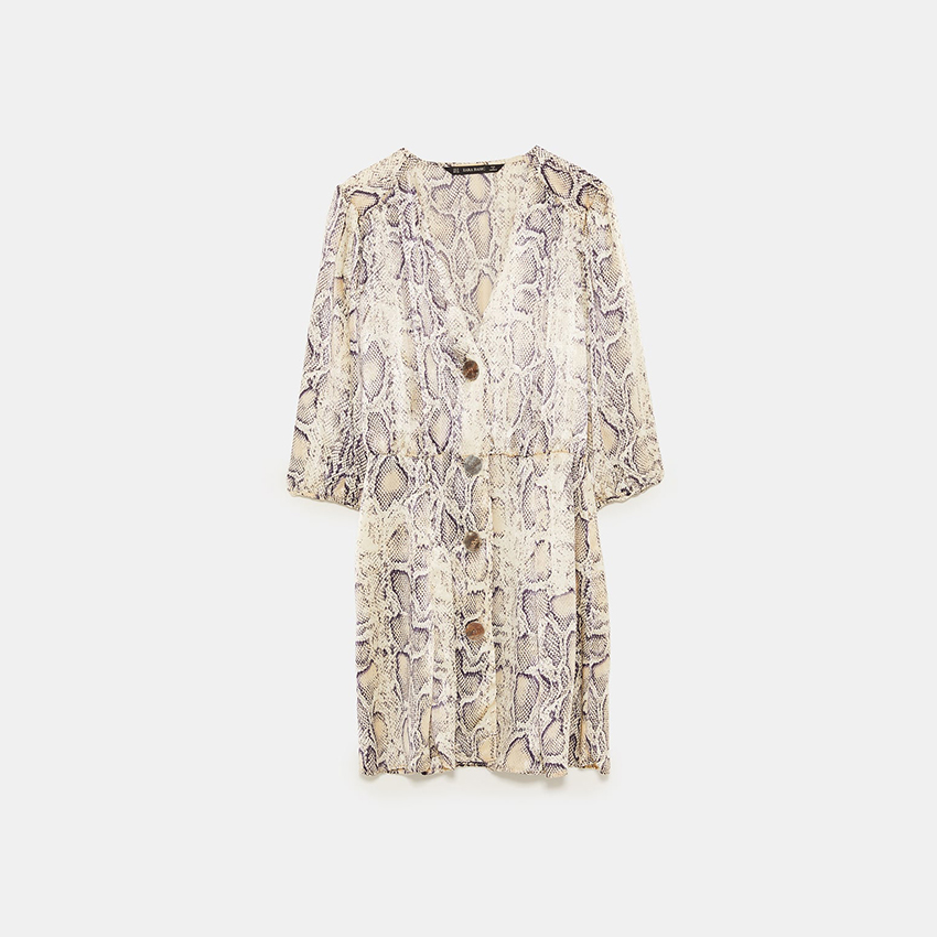 Women V Neck Print Sexy Dress 2019 Summer Vintage Snakeskin Button Mini Party Dress Fashion Half Sleeve A Line Casual Dresses in Dresses from Women 39 s Clothing