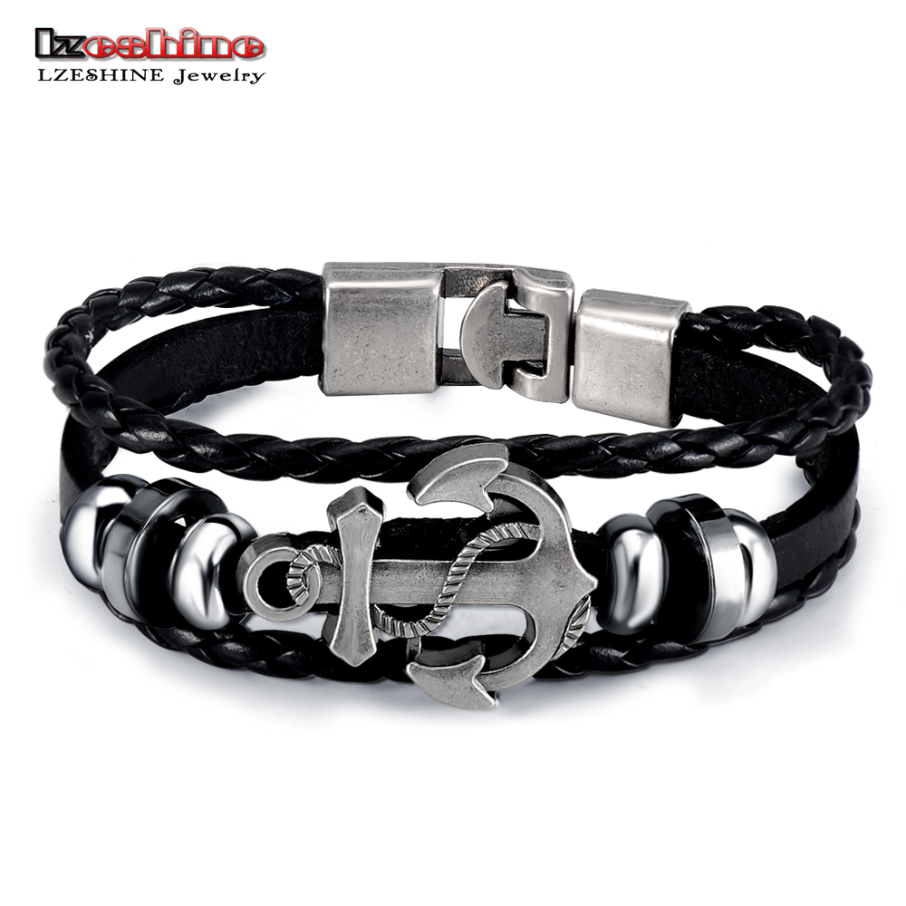 Lzeshine Vintage Anchor Bracelet Black Leather Charm Bracelets Multilayer  Punk Cuff Bracelet Bangle For Men Jewelry