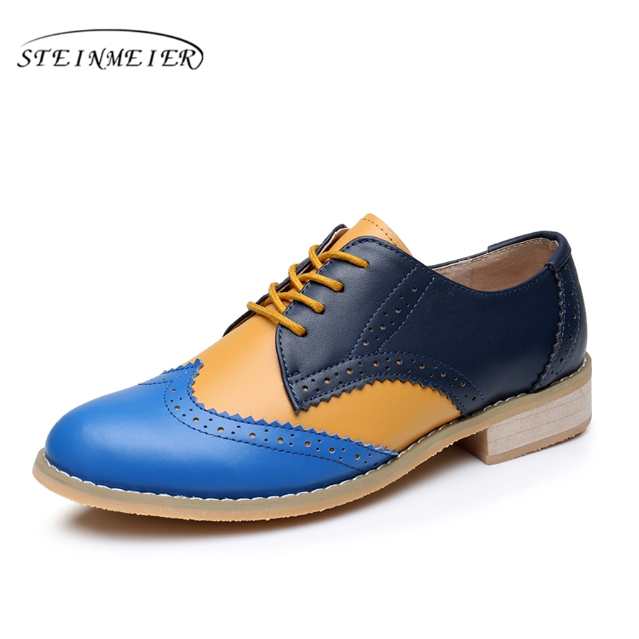 Genuine leather big woman US 9.5 designer retro flat casual shoes round toe handmade blue yellow 2017 oxford shoes for women fur hot sale mens italian style flat shoes genuine leather handmade men casual flats top quality oxford shoes men leather shoes