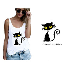 Halloween Black Cat Patch Iron on Heat Transfer Printing Stickers for Clothes T-Shirt DIY Appliques Thermal Patches Washable laser heat thermal transfer printing paper for t shirt clothes fabric roll size 420mm 30m tl 150m