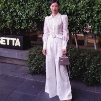 Women Radiate Belted Linen Wide leg Pants High Waist With a Belt White Linen Radiate Slouch Trousers