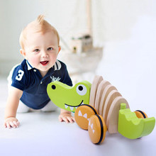 Crocodile Wooden Rope Toy Tractor Dog Animal Wind Up Cartoon Children Crooked Tractors Model Building Kits Boys Girls Baby Toys(China)