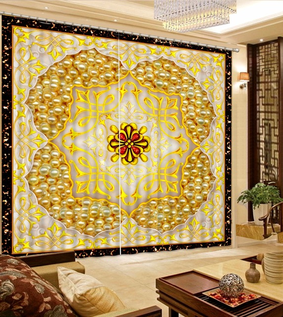 Customized 3D Art Curtains For Living Room Creative Polyester/Cotton Bedroom  Curtains Gold Pattern Blackout