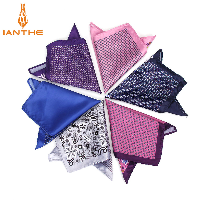 2018 Brand New Men's Handkerchief Vintage Print Dot Pocket Square Soft Silk Hankies Wedding Groom Party Hanky Chest Towel Gift