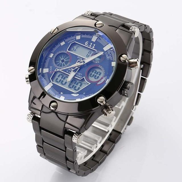 6e416eb4e743 Reloj Para Hombre Deporte Militar Reloj de Pulsera de Oro de Acero lleno  Led Digital Back