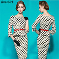 Liva Girl 2017 ukraine summer vestidos Women dress Long Sleeve white dots Women Clothing office dress