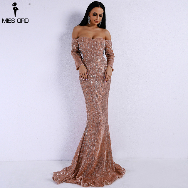 Missord 2019 Sexy  BRA Long Sleeve Off Shoulder Sequin Backless Dress Women Skinny Maxi Party Elegant Reflective Dress FT8714-1