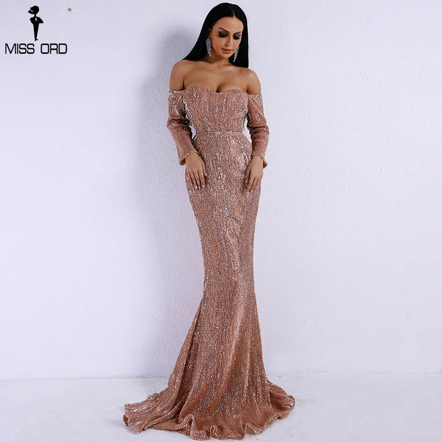 6fb588c8fa Missord 2019 Sexy BRA Long Sleeve Off Shoulder Sequin Backless Dress Women  Skinny Maxi Party Elegant Reflective Dress FT8714-1