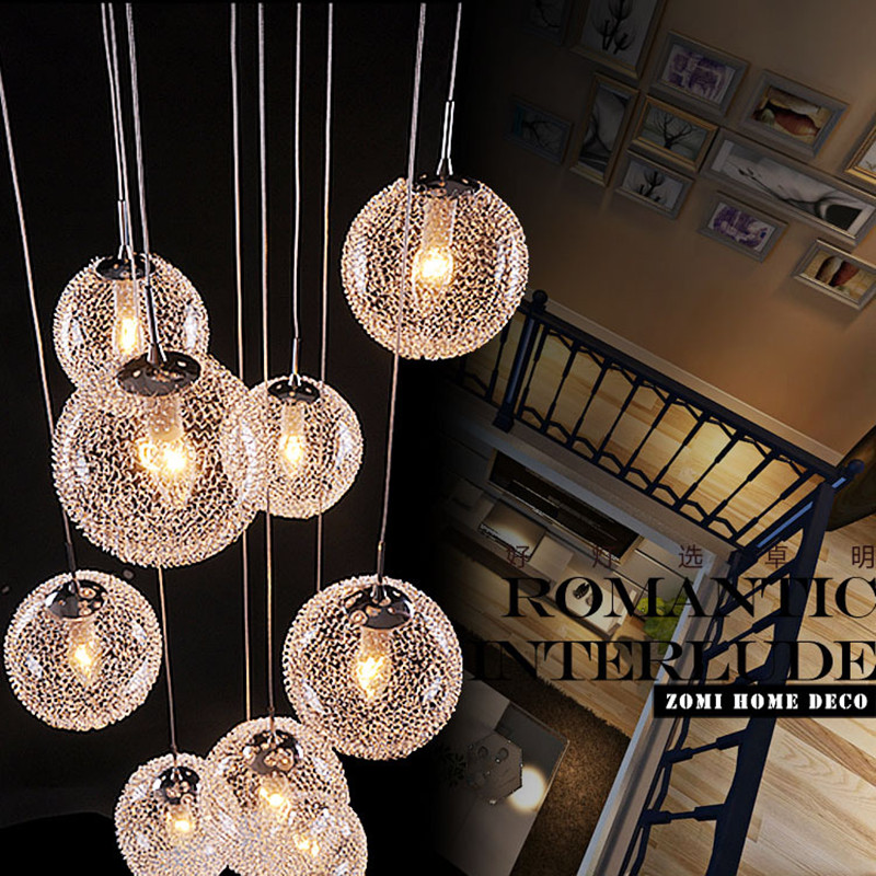 Modern Large LED Chandeliers Stair Long Globe Glass Ball Ceiling ...
