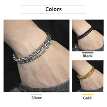 Unique Men's Bracelet Double Chain Bracelet Silver Stainless Steel Wheat Box Chain Link Bracelets Male Jewelry