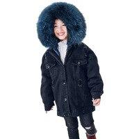 B 1812 Новая модная зимняя одежда для мальчиков и девочек, пальто с кроличьим мехом, 2018 хлопковая стеганая одежда, зимнее пальто с натуральным