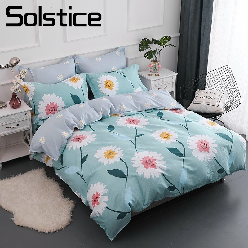 Solstice Home Textile 100% Cotton Bedding Sets Girls Kid Teen Adult Linen Flower Chrysanthemum Duvet Cover Pillowcases Bed Sheet