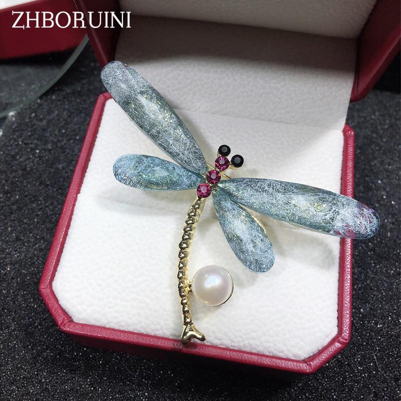 9b3addfcaf25 ZHBORUINI de alta calidad perla Natural de agua dulce broche de perlas  libélula broche de oro perla de Color de la joyería para las mujeres  Accesorios