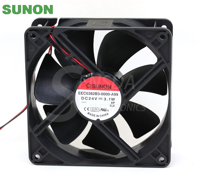 Sunon EEC0382B3-0000-A99 12038 120mm 12cm DC 24V 3.1A 2-wire -pin server inverter case axial cooling fans delta 12038 120mm 12cm ffb1212vhe dc 12v 1 5a 24w 4wire violence server industrial case cooling fans