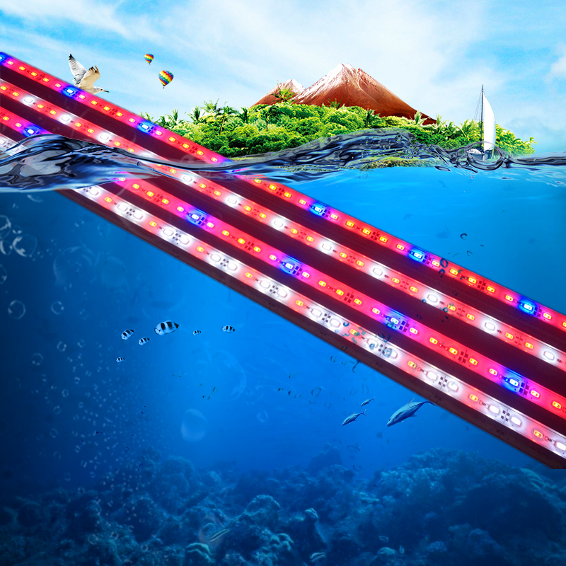 5pc/lot Underwater Aquarium Fish Tank Fishbowl Light Waterproof Kitchen White Blue Red  SMD 5730 9W 50CM LED  Lamp