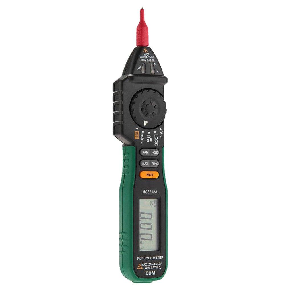 MASTECH MS8212A Pen Type Multimeter Tester DC AC Voltage Current Volt Ohm mastech ms8212a multimetro pen type non contact voltage ac dc voltage current tester multimetro diode detector