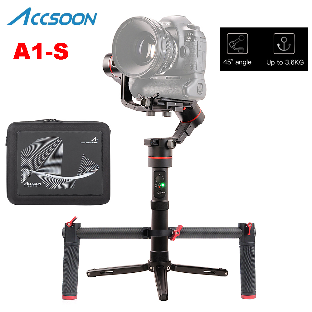 Accsoon A1-S 3-Axis Handheld Gimbal Stabilizer 3.6Kg Payload Full Visual Without Cover For Mirrorless/DSLR With Dual Handle Grip
