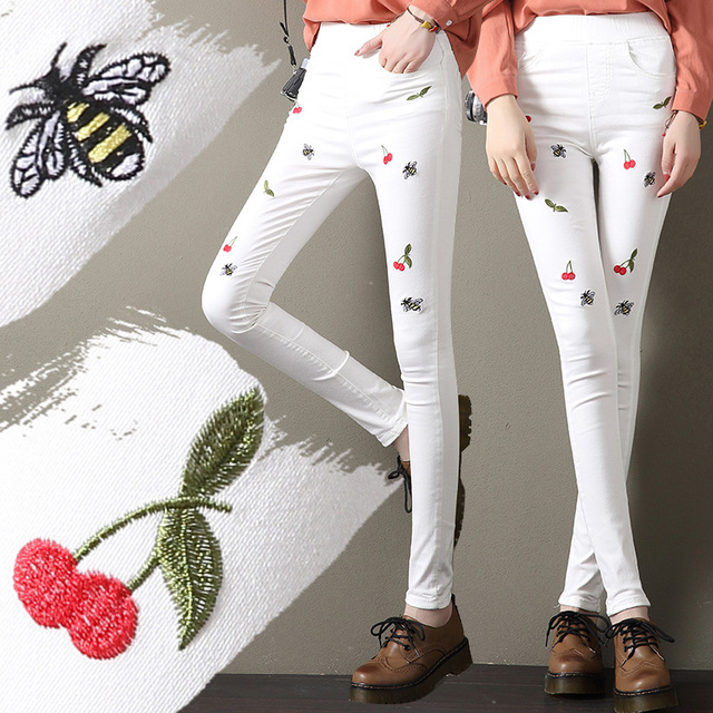 2018 Girls Skinny Jeans Women Embroidered Denim Pencil Jeans Blue European  Femme Spring Embroidery Jeans For